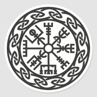 Vegvísir, Iceland, Traveler's Charm, Protection Round Sticker