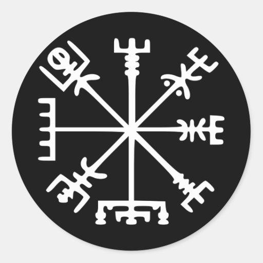 Vegvísir (Viking Compass) Round Sticker