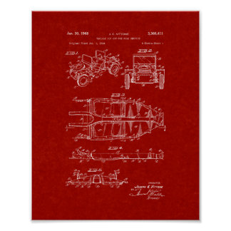 Vehicle For Off-the-road Service Patent - Burgundy Poster