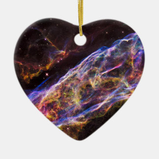 Veil Nebula Supernova Remnant Ceramic Heart Decoration