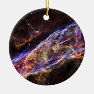 Veil Nebula Supernova Remnant Round Ceramic Decoration