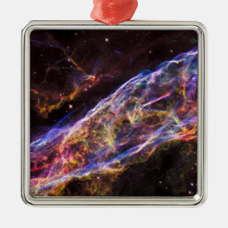 Veil Nebula Supernova Remnant Silver-Colored Square Decoration