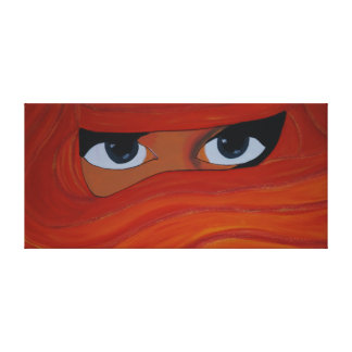 Veiled woman in orange canvas print
