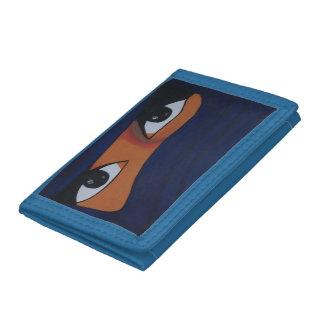 Veiled woman into dark blue tri-fold wallets
