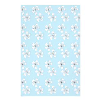 Vein flowers on blue customized stationery