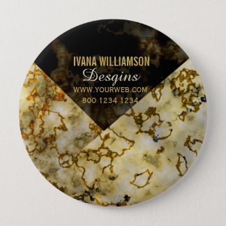 Veining Marbleized Cracked Gold Professional 10 Cm Round Badge