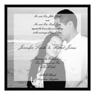 Vellum Look Photo Square Wedding Invitation
