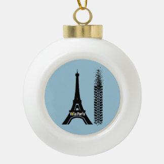 Velo Paris Bike Eiffel Tower Ceramic Ball Christmas Ornament