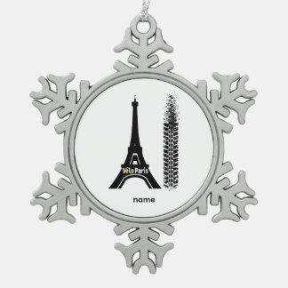 Velo Paris Bike Eiffel Tower Pewter Snowflake Decoration