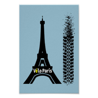 Velo Paris Bike Eiffel Tower Poster