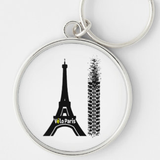 Velo Paris Bike Eiffel Tower Silver-Colored Round Key Ring