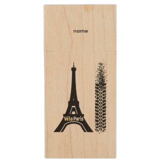 Velo Paris Bike Eiffel Tower Wood USB Flash Drive
