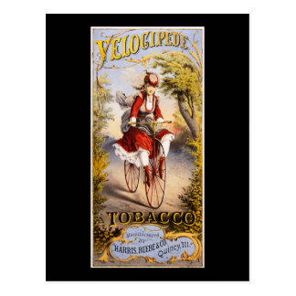 Velocipede tobacco postcard