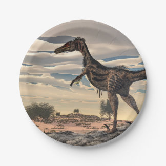 Velociraptor dinosaur - 3D render 7 Inch Paper Plate