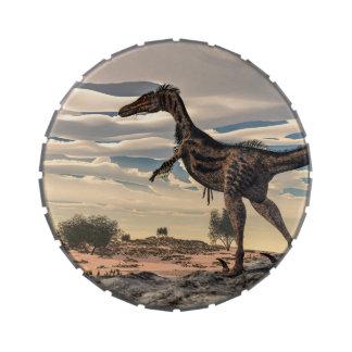 Velociraptor dinosaur - 3D render Jelly Belly Candy Tin