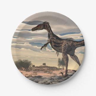 Velociraptor dinosaur - 3D render Paper Plate
