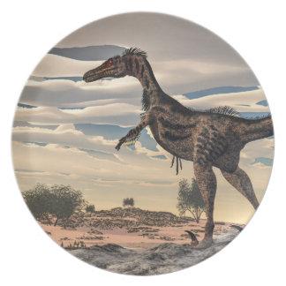 Velociraptor dinosaur - 3D render Party Plate