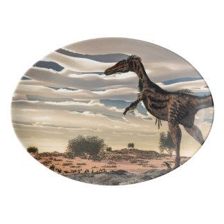 Velociraptor dinosaur - 3D render Porcelain Serving Platter
