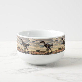 Velociraptor dinosaur - 3D render Soup Bowl With Handle