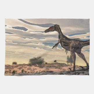 Velociraptor dinosaur - 3D render Tea Towel