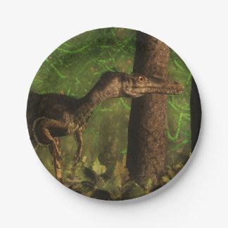 Velociraptor dinosaur in the forest 7 inch paper plate