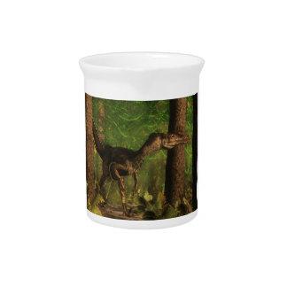 Velociraptor dinosaur in the forest drink pitcher