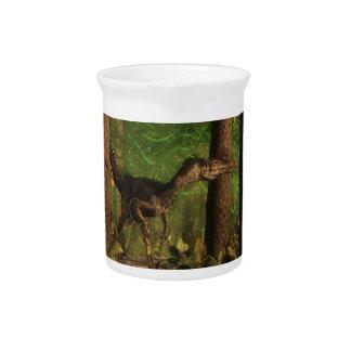 Velociraptor dinosaur in the forest pitchers