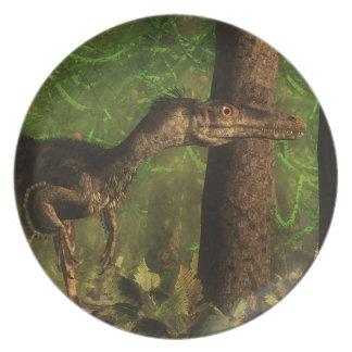 Velociraptor dinosaur in the forest plate