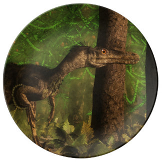 Velociraptor dinosaur in the forest porcelain plate