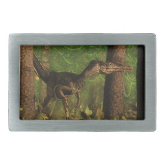 Velociraptor dinosaur in the forest rectangular belt buckle