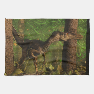 Velociraptor dinosaur in the forest towels