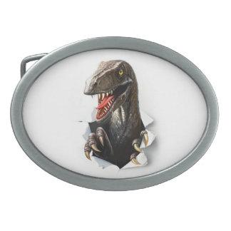 Velociraptor Dinosaur Oval Belt Buckle