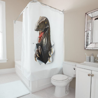 Velociraptor Dinosaur Shower Curtain