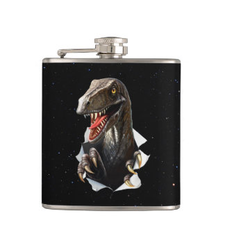 Velociraptor in Space 6 oz Vinyl Wrapped Flask