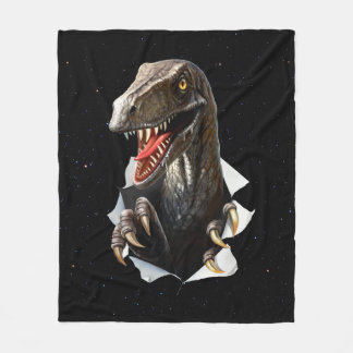 Velociraptor in Space Fleece Blanket