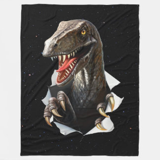 Velociraptor in Space Large Fleece Blanket
