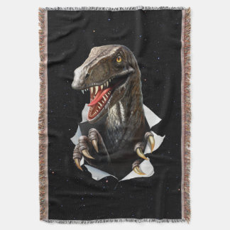 Velociraptor in Space Woven Throw Blanket