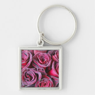 Velvet Beauty Silver-Colored Square Key Ring