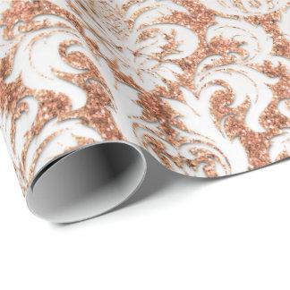 Velvet Peach Rose Gold Silver Damask Elegant Wrapping Paper