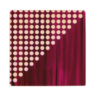 Velvet Polka dot Pattern Wood Coaster