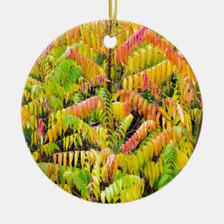 Velvet tree in autumn colors round ceramic decoration
