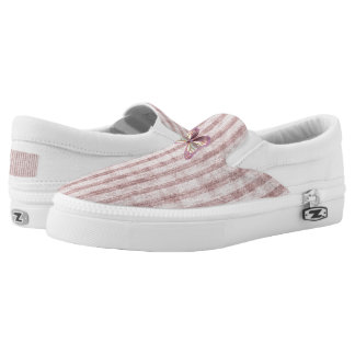 Velvety Dusty Pink Stripes with Butterfly Accent Slip On Shoes