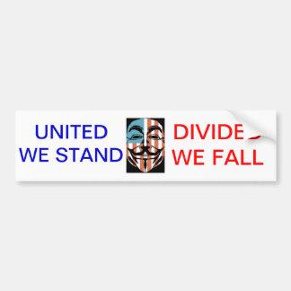 vendetta america mask, UNITED WE STAND, DIVIDED... Bumper Sticker