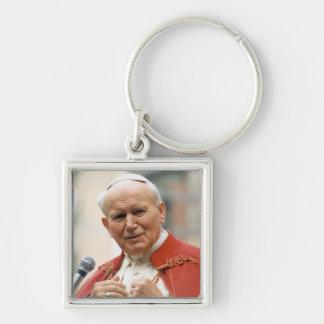 Venerable Pope John Paul II Silver-Colored Square Key Ring