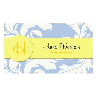 Venetian Baroque Ornamental Damask Blue Yellow Business Cards