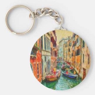 Venetian Canal Venice Italy Basic Round Button Key Ring