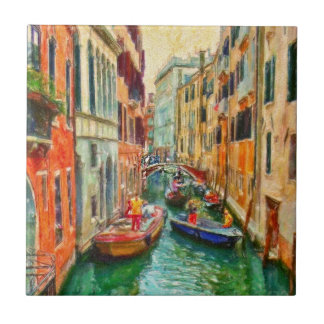 Venetian Canal Venice Italy Small Square Tile