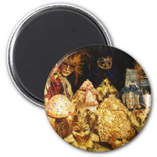 Venetian Carnival Masks - Venice, Italy 6 Cm Round Magnet