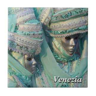 Venetian Couple With Carnival Costumes Small Square Tile