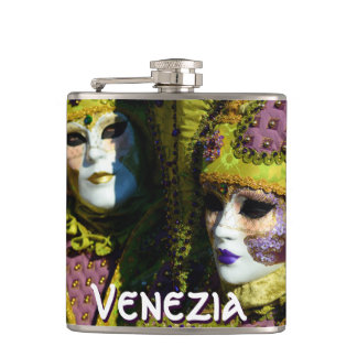 Venetian Couple With Carnival Masks Hip Flask